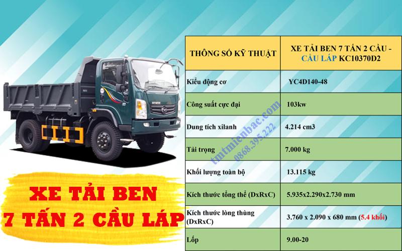 giá xe tải ben7 tấn 2 cầu tmt kc10370d2