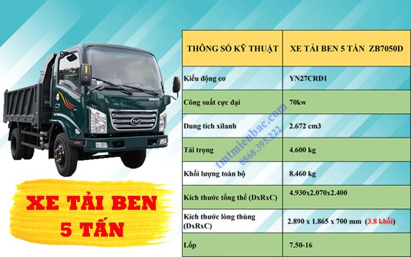 Giá xe tải ben 5 Tấn TMT ZB7050D 2020