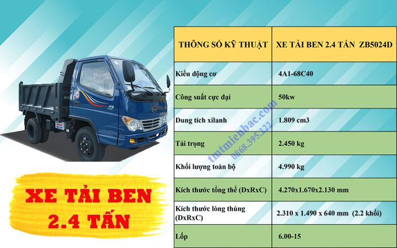 giá xe tải ben 2.4 tấn ZB5024D