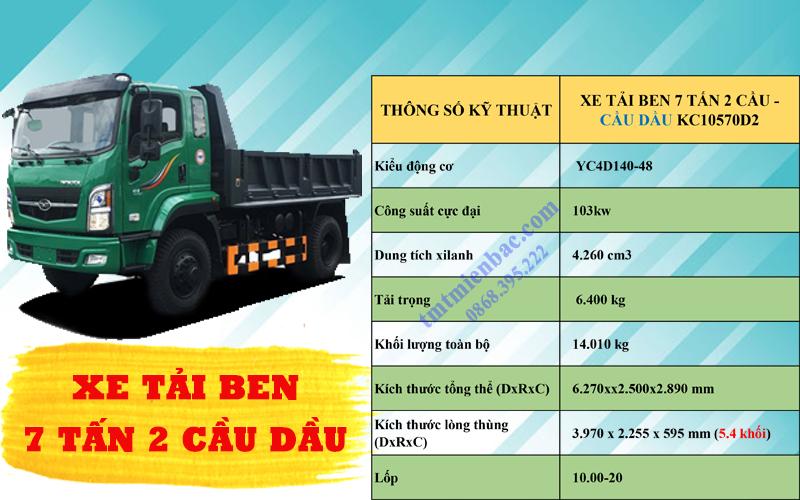 giá xe tải ben7 tấn 2 cầu tmt kc10570d2