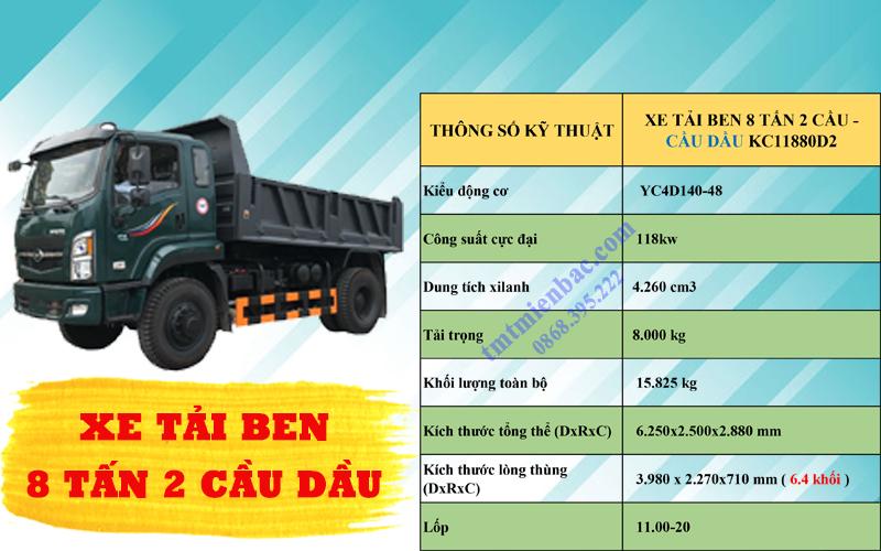 giá xe tải ben 8 tấn 2 cầu tmt kc11880d2