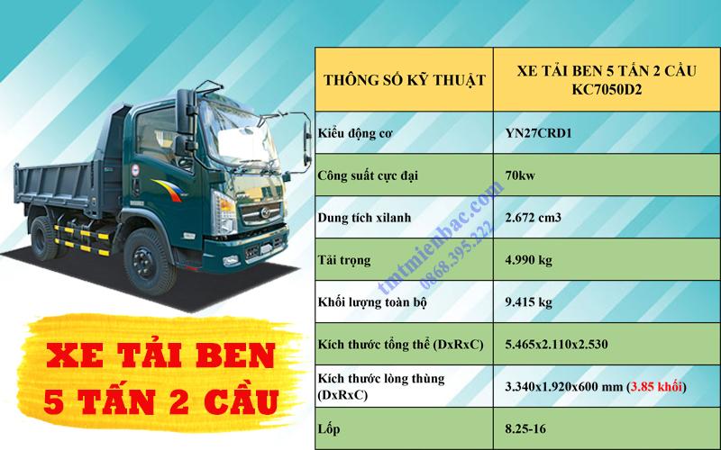 giá xe tải ben 5 tấn tmt kc7050d2