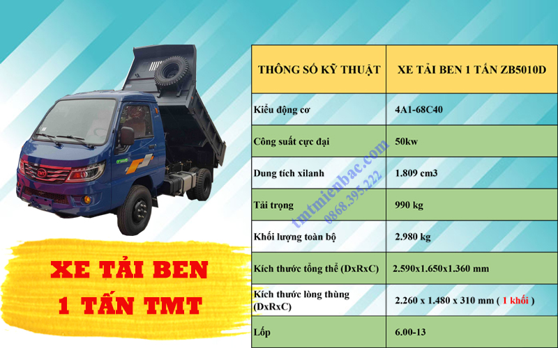 giá xe tải ben 1 tấn tmt zb5010d