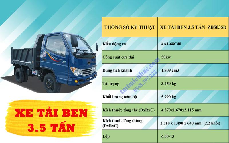 giá xe tải ben 3.5 tấn ZB5035D