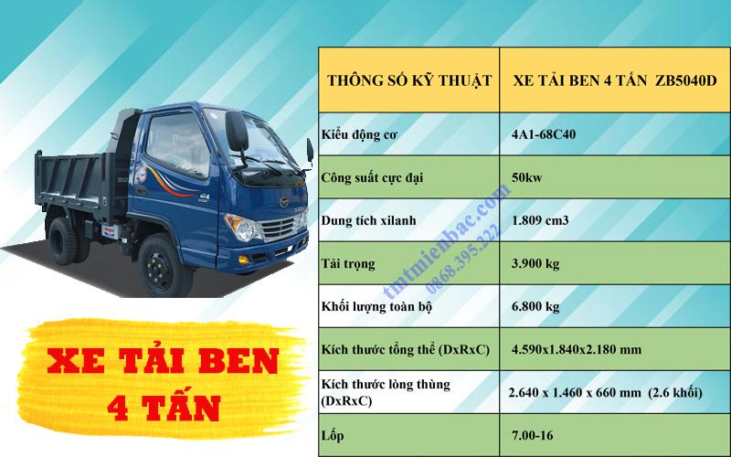 giá xe tải ben 4 tấn ZB5040D